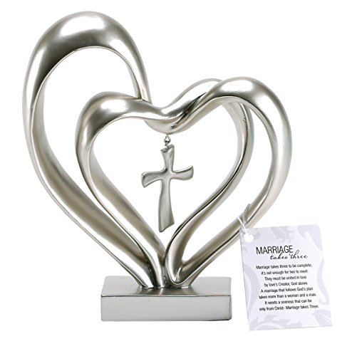 Entwined Hearts and Cross Figurine - Silver Tone Finish - Marriage Takes Three Verse Hangtag