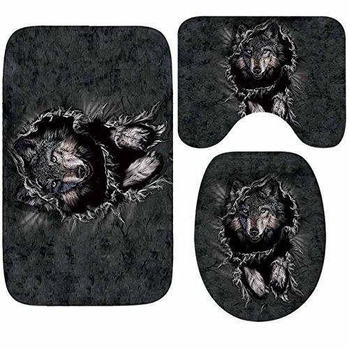 1 Set  Wolf Totem Rug Bath Mat Kids Non Slip Textured Round