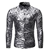 Men's Casual Shirts Autumn Long Sleeve Luxury Stamping Shirt Button-Down Slim Business Shirt