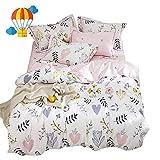 BuLuTu Floral Love Print Girls Duvet Cover Twin White/Pink Cotton Premium Blossom Kawaii Reversible Colorful Kids Bedroom Comforter Cover Bedding Sets for Teen Toddler,Lightweight,Zipper,NO Comforter