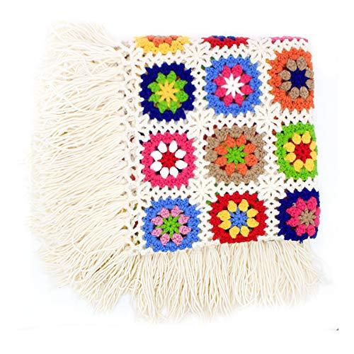 Flor hecha a mano ganchillo flecos borla de manta, toalla de alfombra de punto, sofá, sofá cojín, flores alfombrillas, lana, 120x60 cm: Amazon.es: Hogar