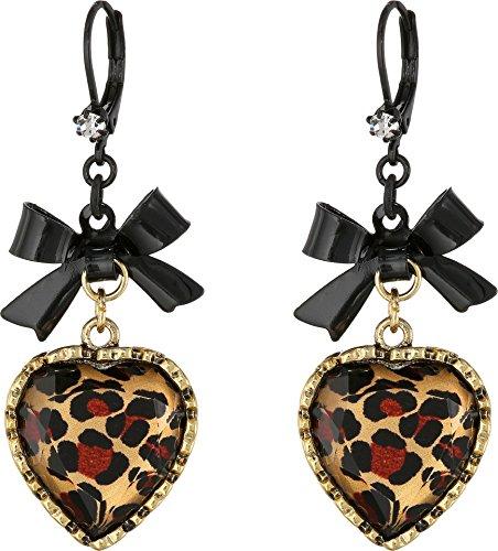 Betsey Johnson Crystal Leopard Heart and Black Bow Drop Earrings