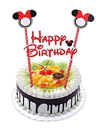 1 Set Minnie Mouse theme Cake topper Red Banner,birthday,first year,baptism,unissex ( Red (Minnie Cake)