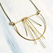 Open Circle Geometric Dancing Gold Brass Statement Necklace - Antique Brush Finish Chain 24 inches Long with 3