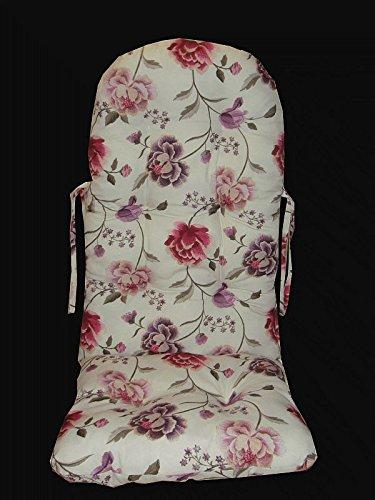 Rattan im Trend 'Cuscino–Cuscino per sedia a dondolo Colore Bianco/Fiore Rosa Rattano