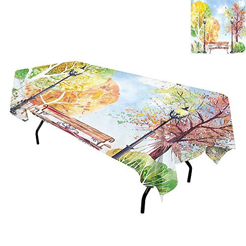 Landscape,Waterproof/Oil Proof/Stain Resistant Table Cover,Hand Drawn Watercolor Autumn Park Trees Shrubs Bench and Lanterns Nature Artwork,Tablecloths Extra Long,W60 x L84 Inch -