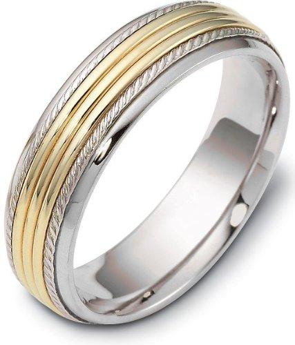 - 6mm Comfort Fit 18 Karat Yellow Gold & Titanium Wedding Band Ring - 8.75