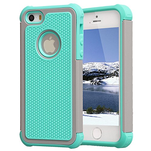 AGRIGLE AB669658 Shock- Absorption/High Impact Resistant Hybrid Dual Layer Armor Defender Full Body Protective Cover Case Compatible with iPhone 5/5S/SE (Teal-Grey)