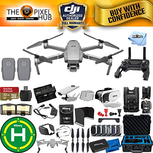DJI Mavic 2 Pro 2 Battery (Total) MEGA Accessory Bundle with Waterproof Case, Drone Vest, 32GB Micro SD, VR Goggles, Charging Hub, Filter Kit, Landing Pad + Much More ()