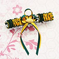 Customizable - Green Bay Packers green fabric handmade into bridal prom white organza wedding garter with football charm