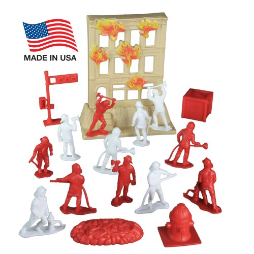 Fire Rescue Team Playset: 33 Piece Bucket with 2.5 inch Firemen Figures,...