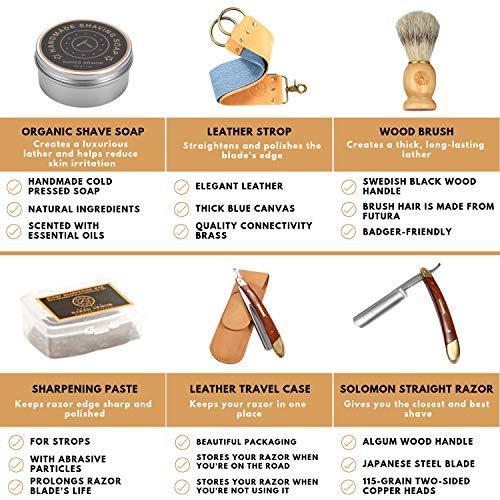 Amazing STRAIGHT RAZOR SHAVING KIT ~ Quality Shave at Home. Samurai SHARP Straight Edge Razor Set, Japan Steel, Strop, Soap, Badger Friendly Brush, Great Straight Razor Kits for Men, Dad Gift Box by Naked Armor (Image #4)