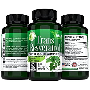 Trans Resveratrol Antioxidant - BEST Anti Aging Supplement for Women & Men with Moringa leaf powder - Vitamin C - Acai, Grape Seed Extract Capsules for Heart Health - Weight Loss & Immune System Boost
