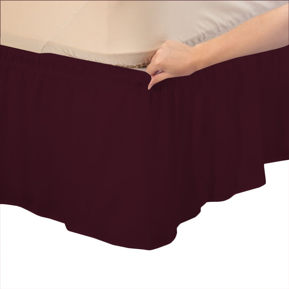 Relaxare Queen 300TC 100% Egyptian Cotton Wine Solid 1PCs Wrap Around Bedskirt Solid (Drop Length: 29 inches) - Ultra Soft Breathable Premium Fabric