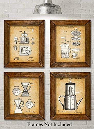 Original Coffee Patent Art Prints - Set of Four Photos (8x10) Unframed - Makes a Great Gift Under $20 for the Coffee Lovers or Kitchen Decor