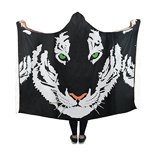 (AIKENING Hooded Blanket Tiger Head White Bengal Tiger India Carnivore Blanket 60x50 Inch Comfotable Hooded Throw Wrap)