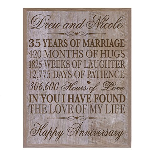 Personalized 35th Wedding Anniversary Gift for Couple, Custom Made 35th Anniversary Gifts for Her,35th Wedding Anniversary Gifts for Him 12 Inches Wx 16 Inches H (Barwood)