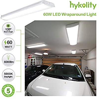 Hykolity 4FT 60W LED Commercial Wraparound Shop Light Fixture 6000lm Low Bay Linear Flushmount Office Ceiling [4 lamp 32W Fluorescent Equivalent] 5000K Daylight White ETL Listed- 4 Pack