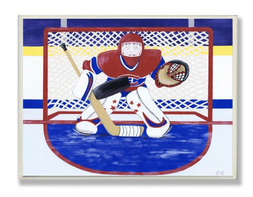 Ice Plaque Print - The Kids Room by Stupell Hockey Goalie Rectangle Wall Plaque