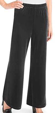 Women's Velvet Palazzo Wide Leg Pants, Machine Washable, Polyester ...