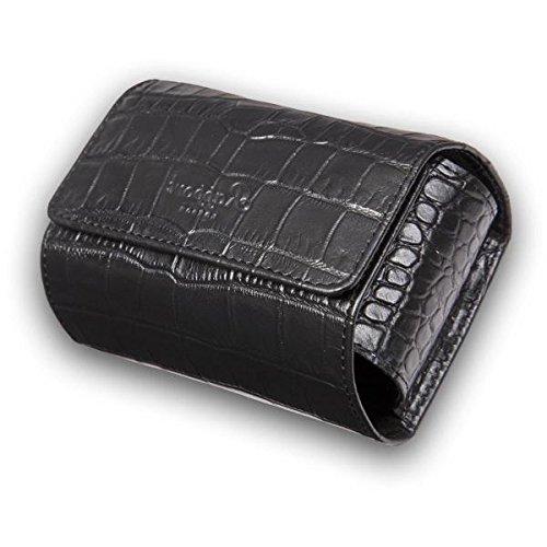 Rapport London Single Watch Roll with Crocodile Pattern Black Leather by Allurez