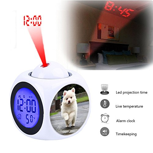 Projection Alarm Clock Wake Up Bedroom with Data and Temperature Display Talking Function, LED Wall/Ceiling Projection,Customize The pattern-321.Puppy, Running, Dog, Animal, Pet, Cute, Young, Nature