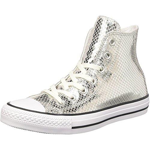 (Converse Chuck Taylor All Star Metallic Snake Hi Fashion Sneaker Shoe - Silver/Black/White - Womens - 7)