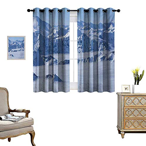 (WinfreyDecor Mountain Thermal Insulating Blackout Curtain Fantasy Dream Land Over The Austrian Alps Summit Climate Skiing Snowfall Fir Theme Patterned Drape for Glass Door W55 x L63 White)