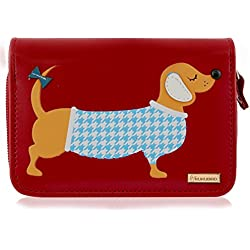 Kukubird New Girls/Ladies Medium Dachshund Cartoon Designs Purse Wallet - Red
