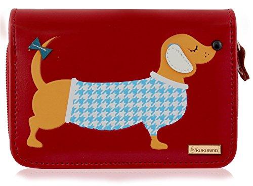 Dachshund Wallet (Kukubird New Girls / Ladies Medium Dachshund Cartoon Designs Purse Wallet - Red)