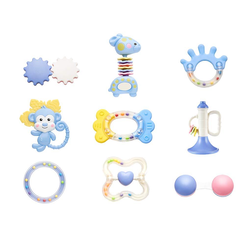 WYNZYSGWJ Baby Rattle Teether, Baby Children's Toy Rattle Set Newborn Hand Grasping Teeth Rubber Molar Puzzle Resistance