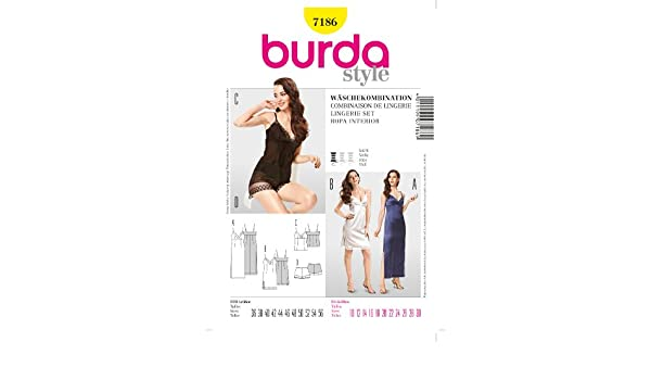 Amazon.com: 7186 Burda Style Lingerie Set Sewing Pattern Sizes 10-30: Arts, Crafts & Sewing