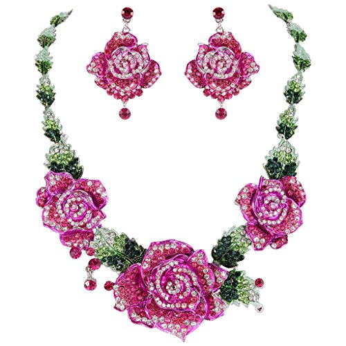 EVER FAITH Rose Flower Necklace Earrings Set Pink w/Green Austrian Crystals Silver-Tone