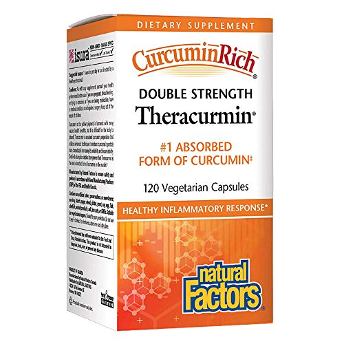 CurcuminRich Double Strength Theracurmin by Natural Factors, Supports Natural Inflammatory Response, Joint and Heart Function, 120 Capsules (120 - Natural Rich