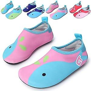 L-RUN Water Sport Skin Shoes Aqua Socks for Swimming,Running,Surfing,Yoga Exercises Pink 12.5-13=EU 30-31