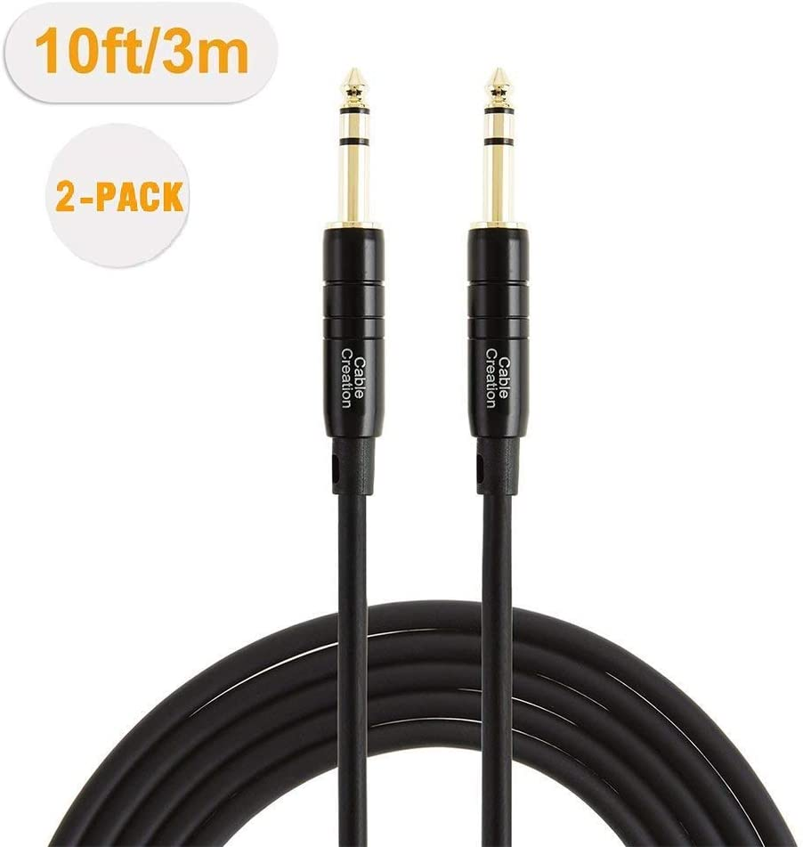 1//4/'/' TRS Cable,CableCreation 50 Feet 1//4 Inch to 1//4 Inch 6.35mm Balanced Stereo Audio Cable for Studio Monitors,Mixer,Yamaha Speaker//Receiver,Black