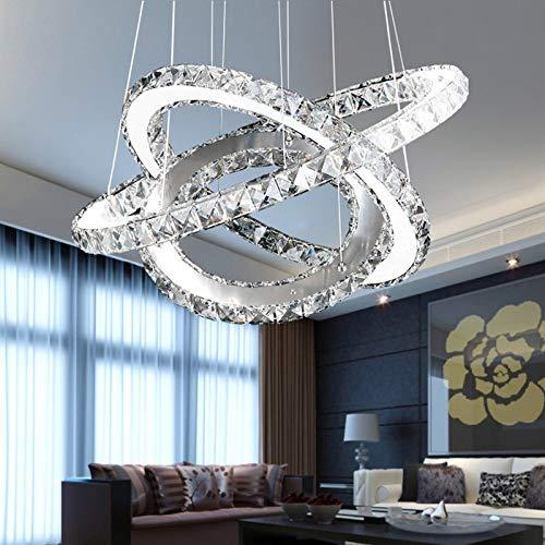 WANGHHH Moderne Chrom Kronleuchter Kristalle Diamant Ring LED Lampe Edelstahl hängende Leuchten Einstellbar Cristal LED Glanz