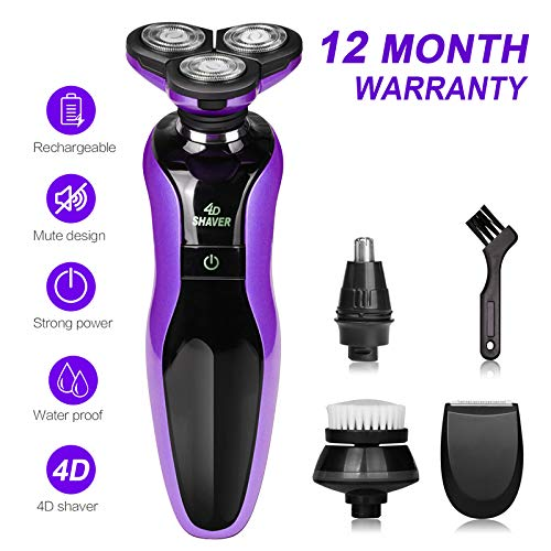 DAMONING Electric Shaver, 4D Rechargeable IPX7 Waterproof 4 in 1 Men s Rotary Shavers Wet and Dry Electric Shaving Razors with Pop-up Trimmer purple