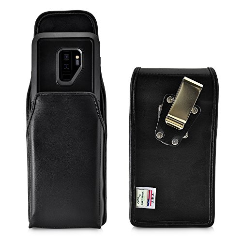 Turtleback Belt Case Made for Samsung Galaxy S9 Plus + with Otterbox Pursuit case Black Vertical Holster Leather Pouch with Heavy Duty Rotating Ratcheting Belt Clip Made in USA