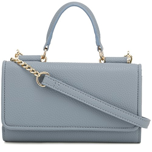 Removable with Strap Top Purse Handle DELUXITY Blue Clutch Chain Crossbody vx6ZqwYF