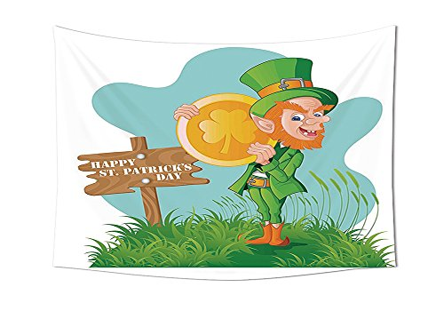 St. Patricks Day Tapestry Decor Festive Leprechaun with Costume Holding Large Shamrock Gold Coin on Hill Wall Hanging for Bedroom Living Room Dorm Multicolor
