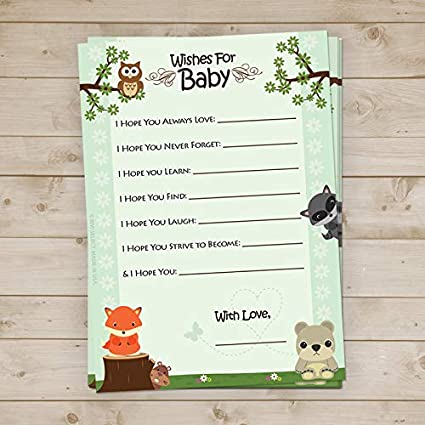 Amazon Com Woodland Baby Shower Wishes For Baby Cards 40 Count
