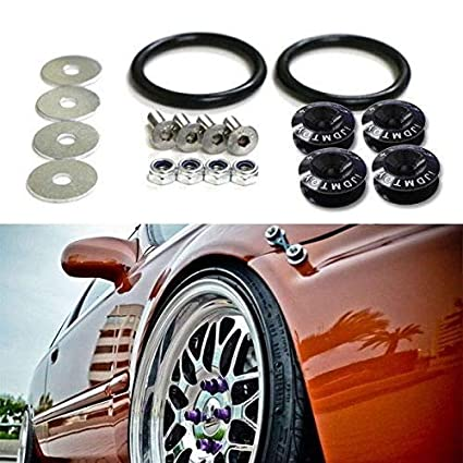 JDMBESTBOY JDM Black Spiked Quick Release Fasteners for Car Bumpers Trunk Fender Hatch Lids Kit from