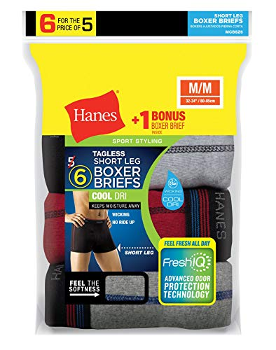 Hanes Mens Tagless Short Leg Sport Styling Boxer Briefs 6-Pack (Assorted, Medium) (Mens Boxers 6 Hanes Pack)