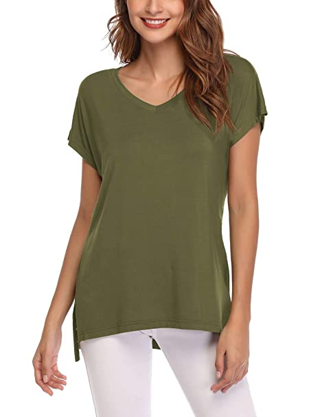 844650656 AUPYEO Women's Short Sleeve T Shirt V Neck Loose Tops Casual Tee with Side  Split
