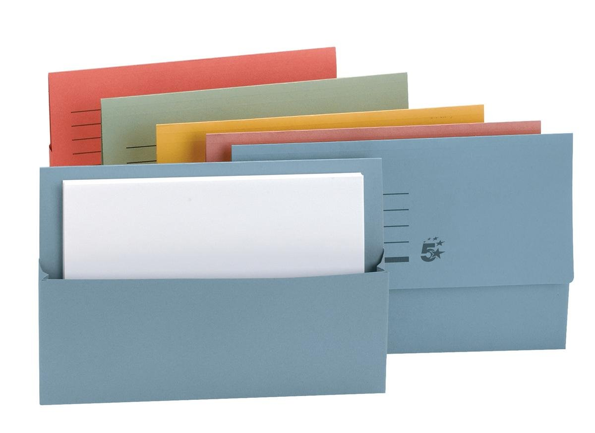 5 Star Document Wallet Half Flap 250gsm Capacity 32mm Foolscap Blue Pack 50