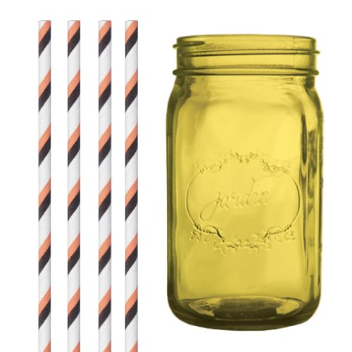 Dress My Cupcake DMC35217 Amber Yellow Vintage Jardin Mason Jar with Halloween Striped Straws, 32-Ounce]()