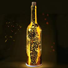 "BRIGHT ZEAL 12"" Tall Decorative LED Bottle Lights with Cork and Starry LED String Light (Bordeaux Glass Wine Bottle, GOLD Mercury, Battery Included) - Wedding Decorations Gifts 11750CA"