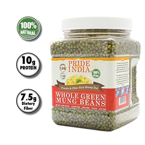Green Mung Beans - Pride Of India - Indian Whole Green Mung Gram - Protein & Fiber Rich Moong Whole, 1.5 Pound Jar