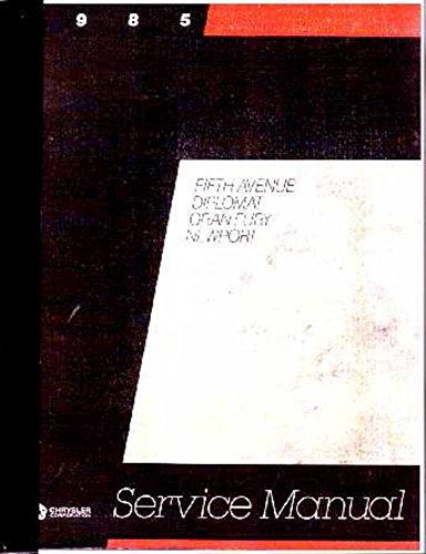 1985 Newport 5Th Ave Diplomat Gran Fury Shop Service Repair Manual Book - 5th Ave Shops